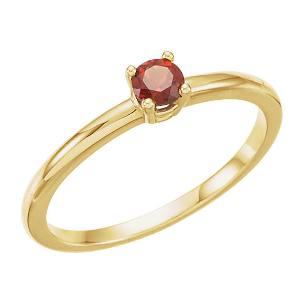 "14k Yellow Gold Garnet Mozambique ""January"" Youth Birthstone Ring, Size 3"