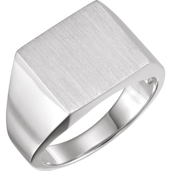 Sterling Silver 13.5x14mm Square Signet Ring, Size 11