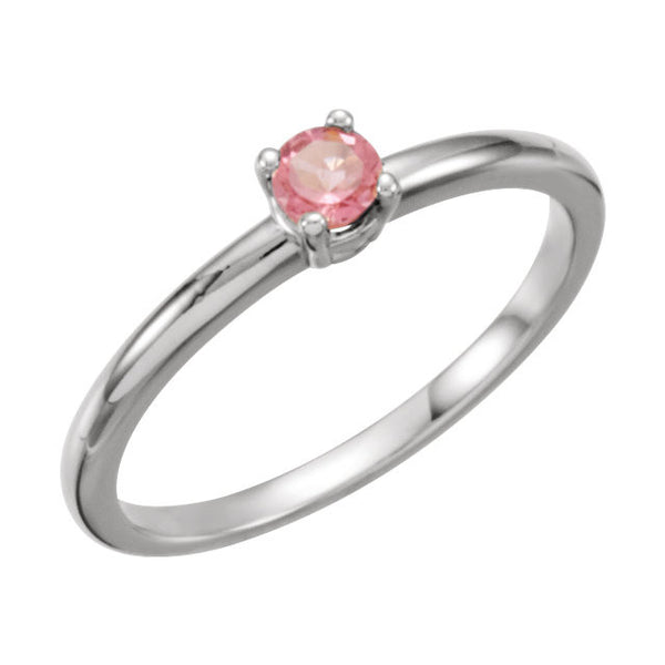 "Sterling Silver Imitation Pink Tourmaline ""October"" Youth Birthstone Ring, Size 3"