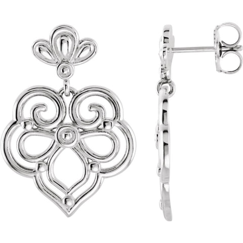 Pair of Decorative Dangle Earrings in Sterling Silver