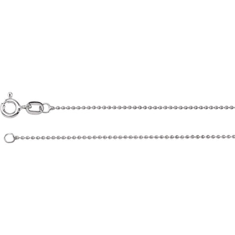 1.0 mm Solid, Bead Chain in 14k White Gold ( 20-Inch )