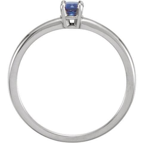 "14k White Gold Blue Sapphire ""September"" Youth Birthstone Ring, Size 3"