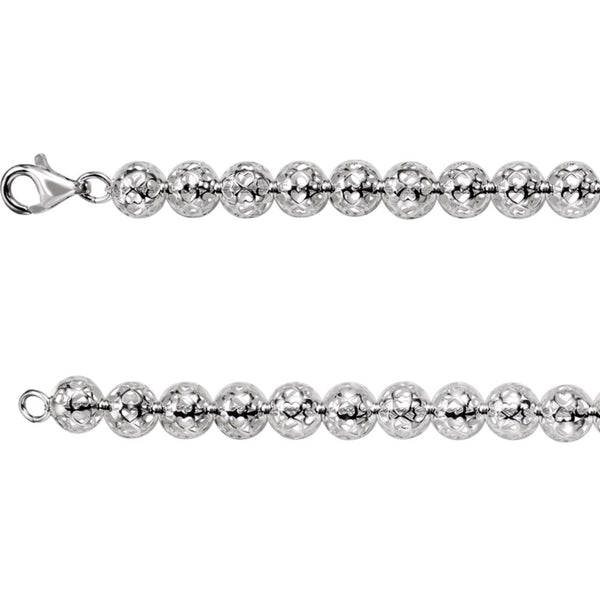 "Sterling Silver 8mm Hollow Bead 16"" Chain"