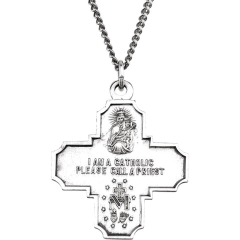"Sterling Silver 30x29mm Four-Way Cross Medal 24"" Necklace"