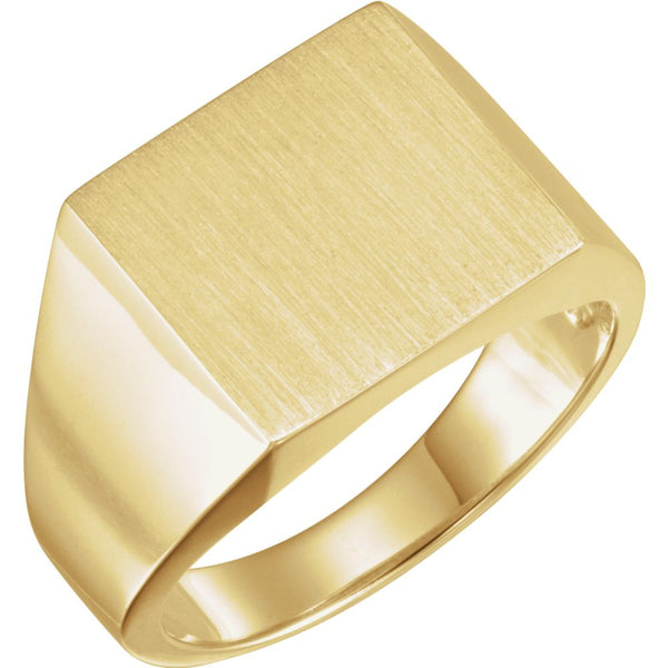 14k Yellow Gold 13.5x14mm Square Signet Ring, Size 11