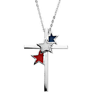 Sterling Silver United We Stand Cross Necklace
