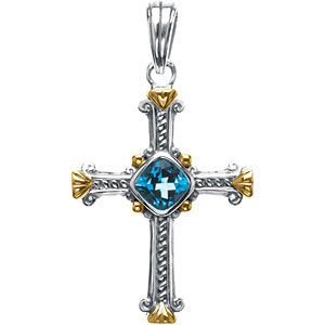 36.00x27.75 mm Genuine Swiss Blue Topaz Cross Pendant in Sterling Silver and 14K Yellow Gold