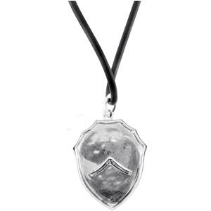 Sterling Silver Pure in Heart Shield with Rubber Cord