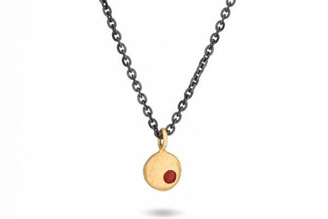14k gold and garnet elemental pebble necklace - Amanda K Lockrow