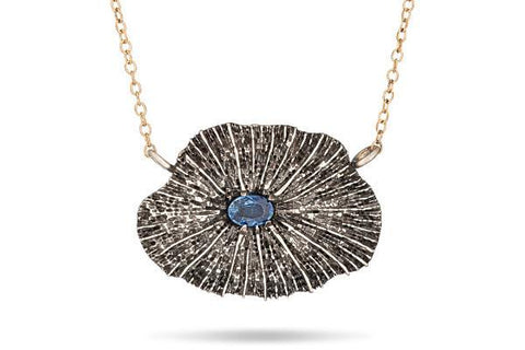 Mushroom coral & blue sapphire sterling silver necklace - Amanda K Lockrow