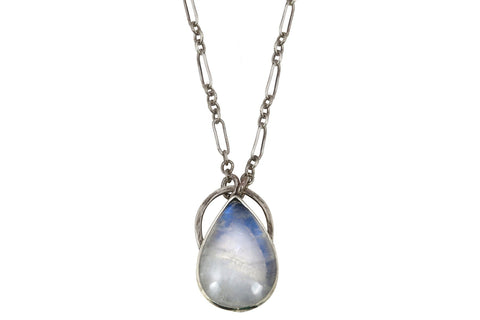 Alvina rainbow moonstone sterling silver statement necklace - Amanda K Lockrow
