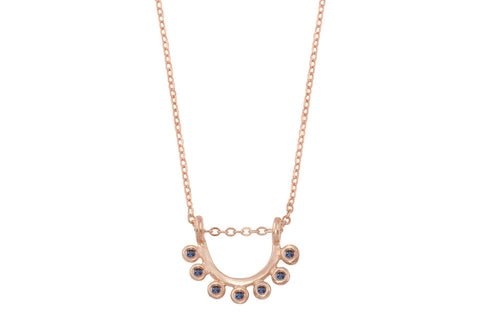 14k rose gold and sapphire dainty sunrise necklace - Amanda K Lockrow