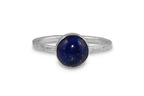 Lapis Lazuli 8mm sterling silver stacking ring - Amanda K Lockrow