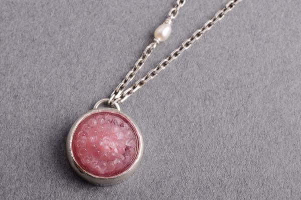 Pink tobiko silver button necklace- made to order - Amanda K Lockrow