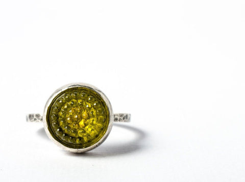 Yellow tobiko sterling silver ring-button ring made to order - Amanda K Lockrow