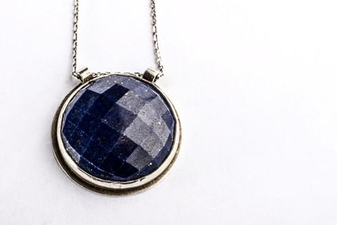 Lapis abyss statement necklace - sterling silver - Amanda K Lockrow