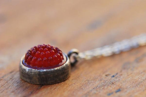 Red tobiko silver button necklace- made to order - Amanda K Lockrow