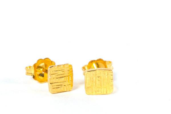 18k yellow gold vermeil tiny square silver stud earrings - Amanda K Lockrow