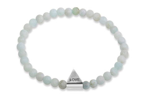 InCompass LOVE bracelet - aquamarine and sterling silver - Amanda K Lockrow