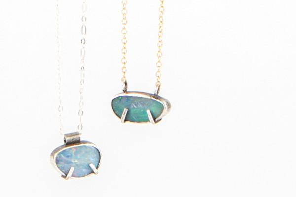 Boulder opal sterling silver Necklace - pick your stone - Amanda K Lockrow