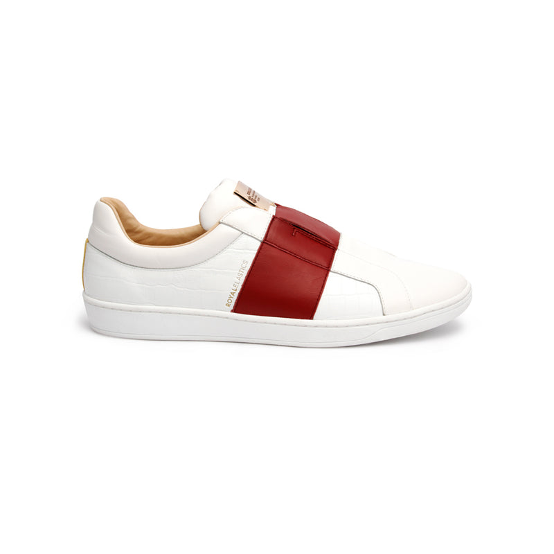 Men's Duke Straight White Red Leather Sneakers 00584-001 - ROYAL ELASTICS