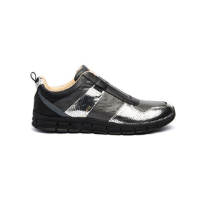 Women's Rider Black Silver Leather Sneakers 91184-889 - ROYAL ELASTICS