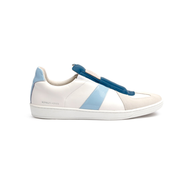 Men's Smooth White Blue Leather Low Tops 01584-005 - ROYAL ELASTICS