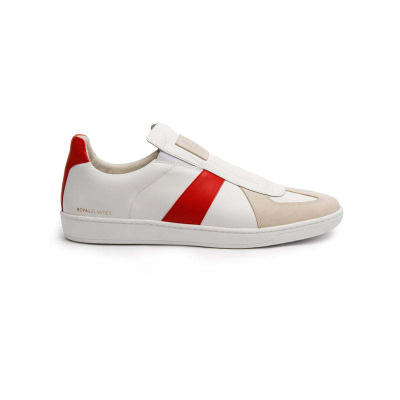 Women's Smooth White Red Leather Low Tops 91591-001 - ROYAL ELASTICS