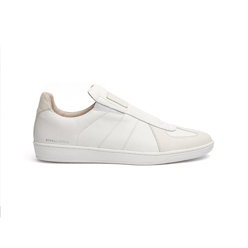 Men's Smooth White Leather Low Tops 01592-000 - ROYAL ELASTICS