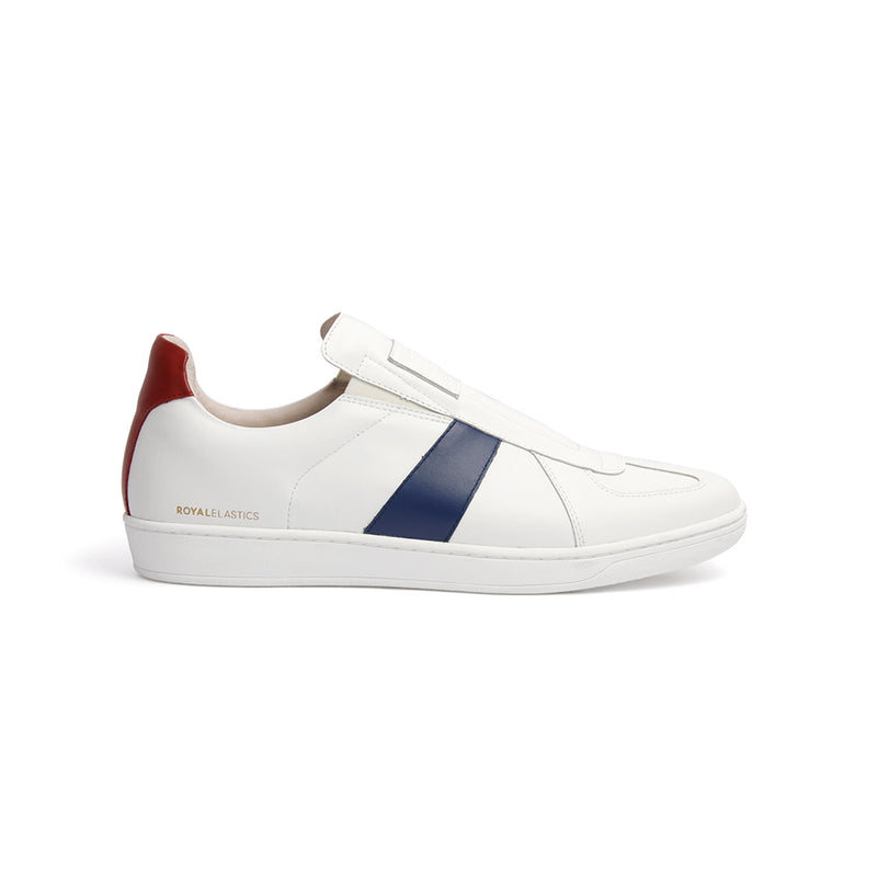 Men's Smooth White Blue Red Leather Low Tops 01593-051