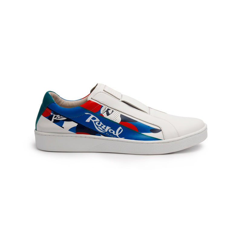 Men's Bishop Camouflage White Blue Leather Sneakers 01791-145 - ROYAL ELASTICS