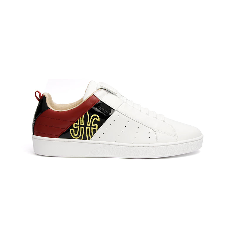 Men's Icon Manhood White Black Maroon Leather Sneakers 02992-091 - ROYAL ELASTICS