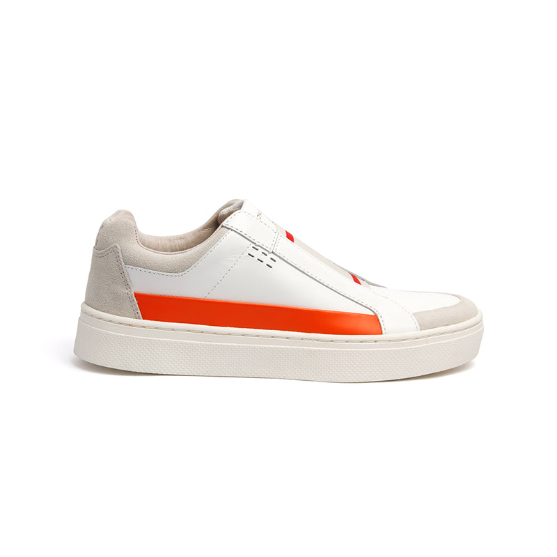 Women's Queen White Orange Leather Sneakers 94291-020 - ROYAL ELASTICS