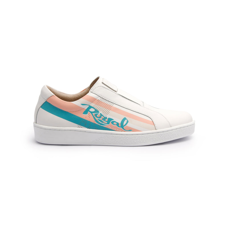 Women's Bishop Color Line Blue Peach White Leather Sneakers 91791-051 - ROYAL ELASTICS