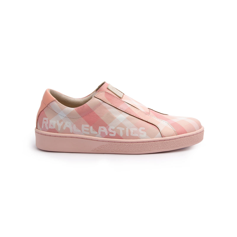 Women's Bishop Checked Pink White Leather Sneakers 91791-111 - ROYAL ELASTICS