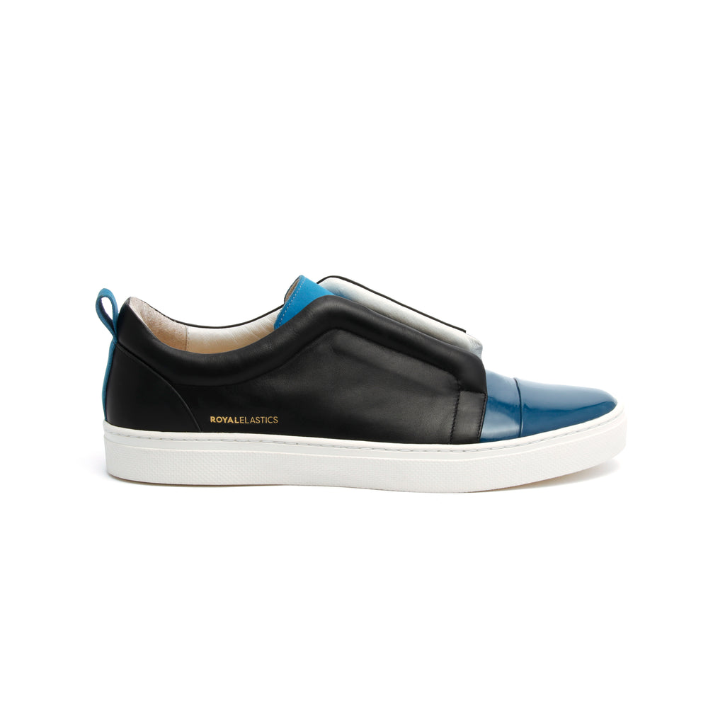 Men's Meister Black Moroccan Blue Leather Low Tops 04384-995 - ROYAL ELASTICS