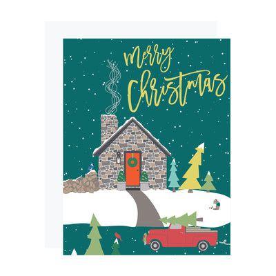 Stone Cabin Mountain Christmas Card by REVEL & Co.