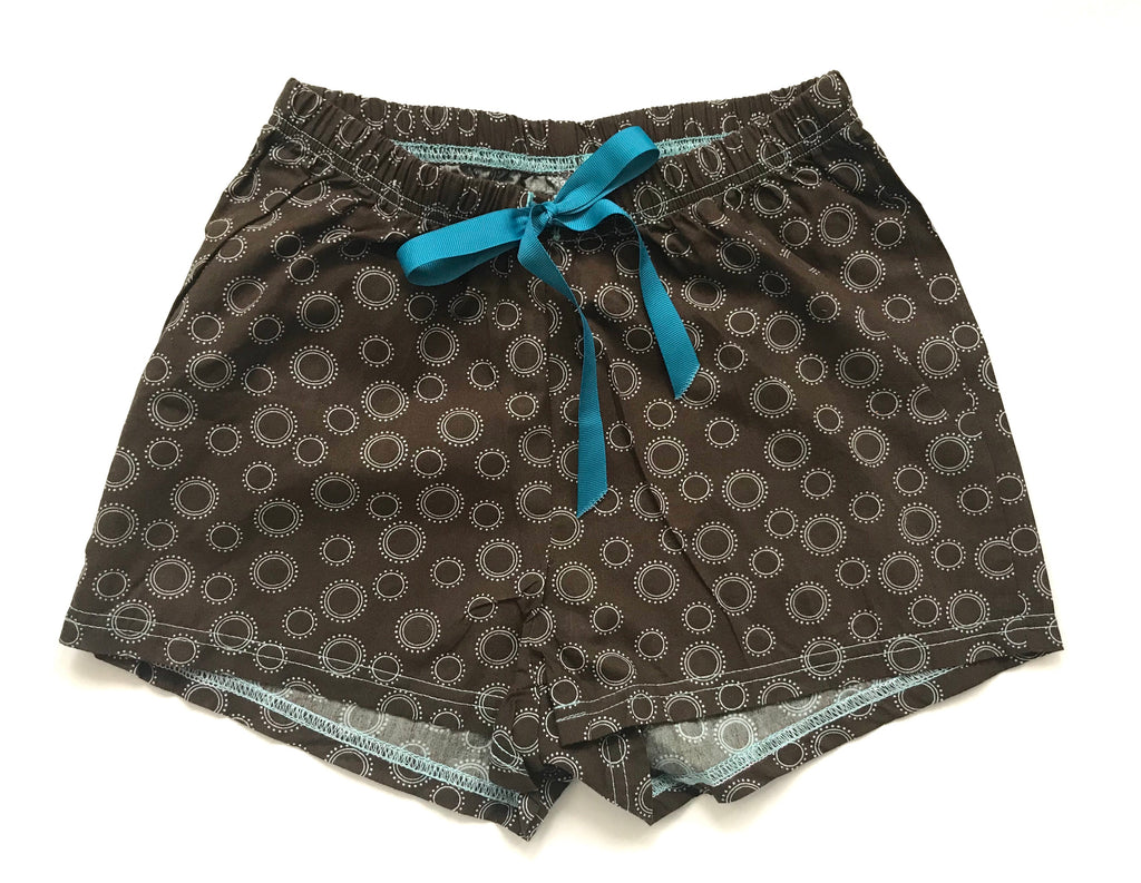 Cotton Women's Boxers - Brown & Blue Design