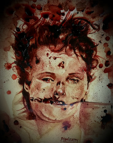 RYAN ALMIGHTY : ORIGINAL HUMAN BLOOD PAINTING : ELIZABETH SHORT/THE BLACK DAHLIA : POST MORTEM