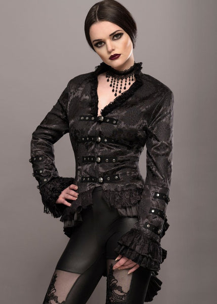 black brocade goth jacket