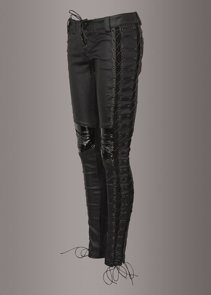 black leather lace up pants