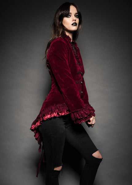 red velvet tail jacket