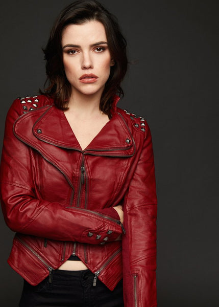 red studded moto jacket