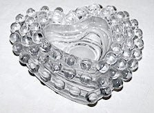 Elegant Glass - Imperial - Candlewick - 3 Graduated Heart Shaped Ashtray Set