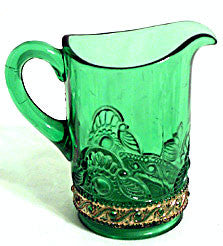 EAPG - US Glass - Lacy Medallion - Emerald Green Creamer w/ Gold