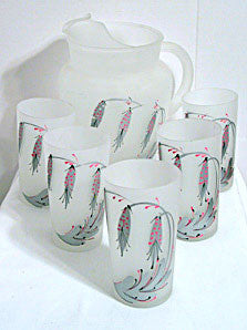 40s 50s 60s - Anchor Hocking - Frosted Pitcher & Glasses Set - 6 pc