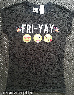 FRI-YAY Emoji PRIMARK T SHIRT emojicon LADIES WOMENS new size 6 -20 - Click. Buy. Love. - 1