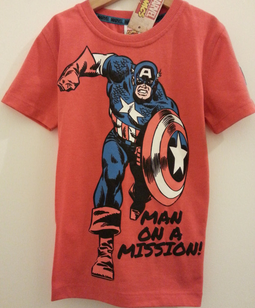 Marvel Captain AmericaT-Shirt Boys Red With Logo Sizes 4- 8yrs - Click. Buy. Love.