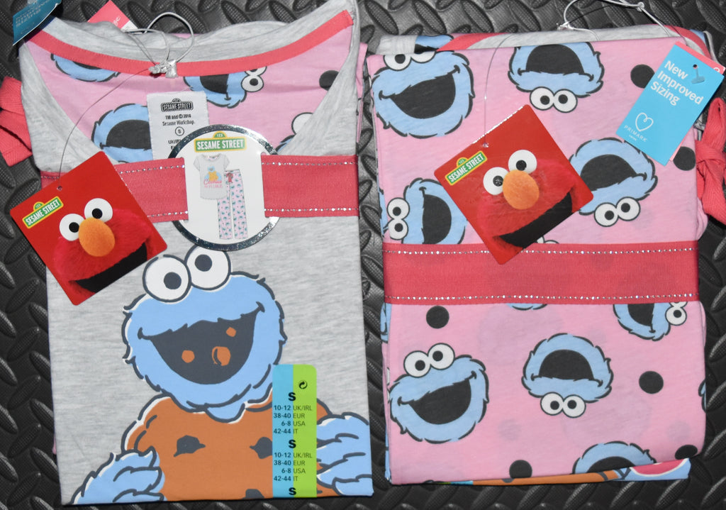 COOKIES AND PYJAMAS PRIMARK PJ SET COOKIE MONSTER Womens Ladies UK Size 4 to 14