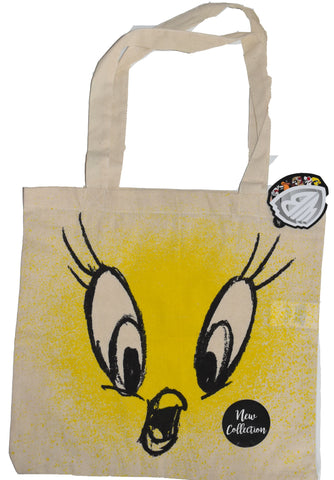 Tweety Pie Canvas Tote Bag 100% Cotton Looney Toons WB Shopping Shoulder BNWT